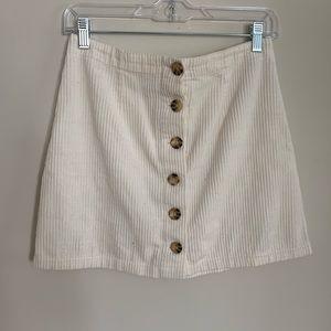 Ivory Corduroy Mini Skirt from Forever 21